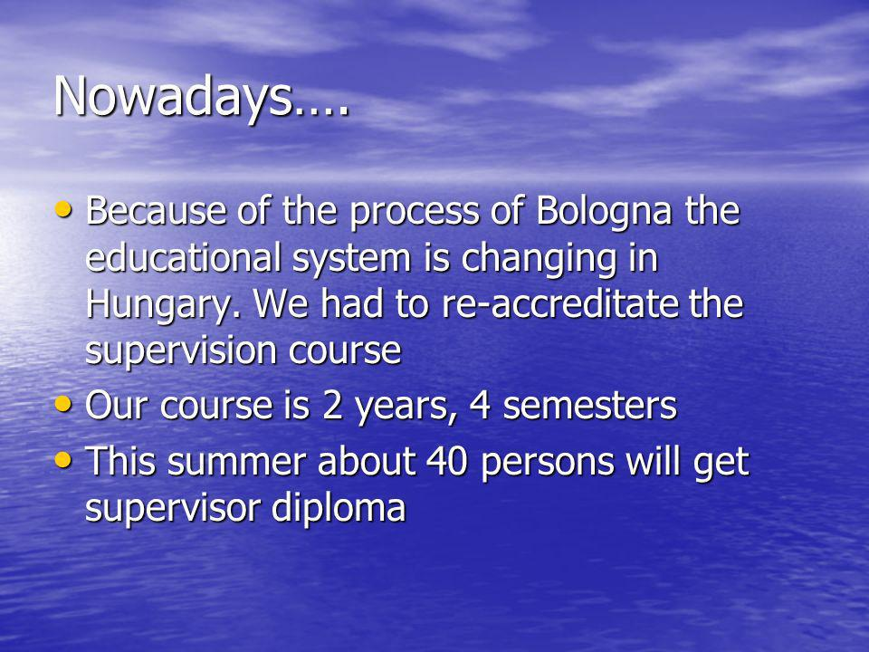Nowadays…. Because of the process of Bologna the educational system is changing in Hungary.