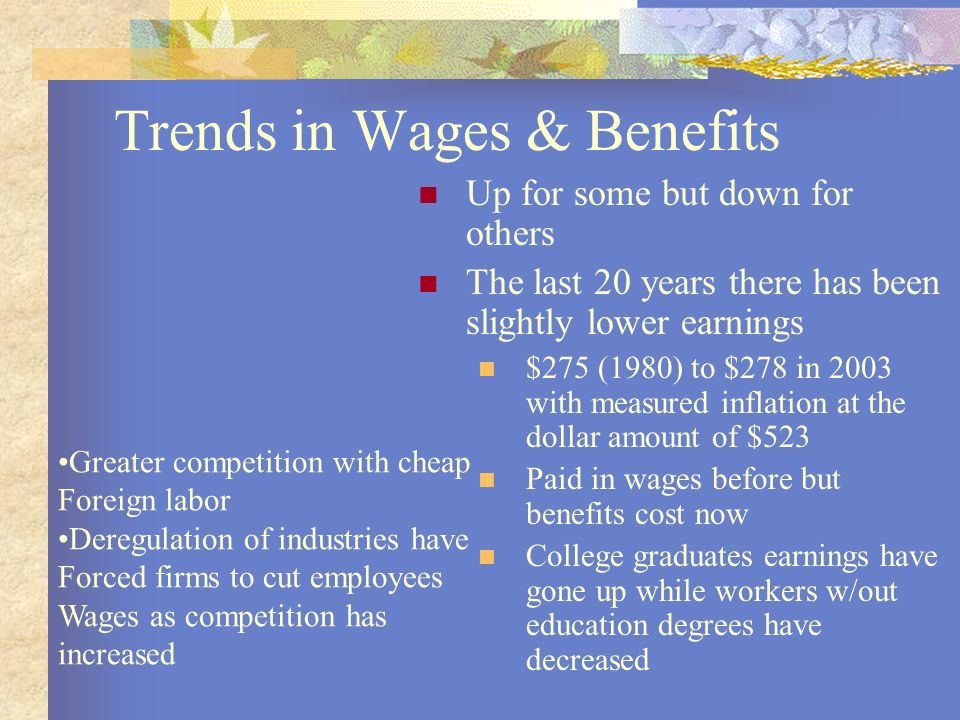 Trends in Wages & Benefits Up for some but down for others The last 20 years there has been slightly lower earnings $275 (1980) to $278 in 2003 with m