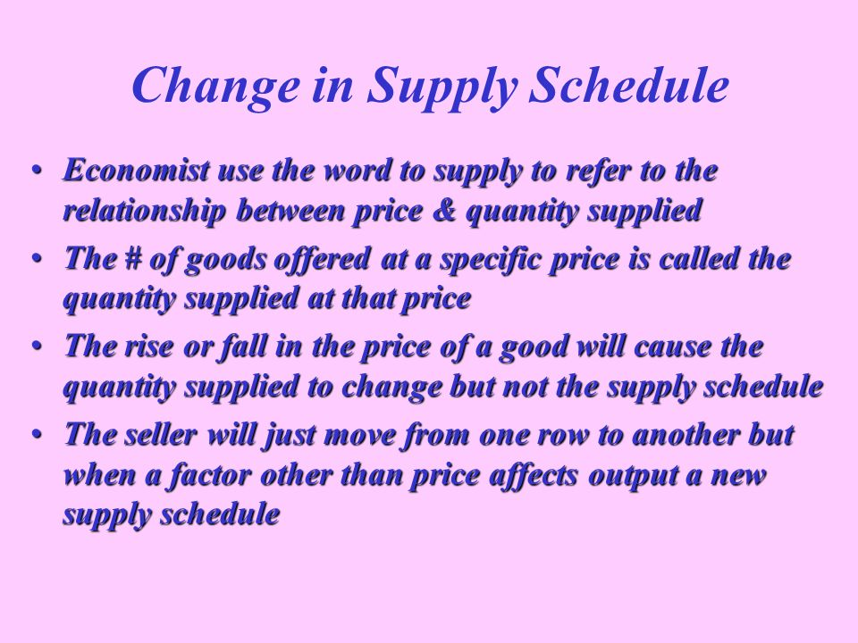 Change in Supply Schedule Economist use the word to supply to refer to the relationship between price & quantity suppliedEconomist use the word to sup