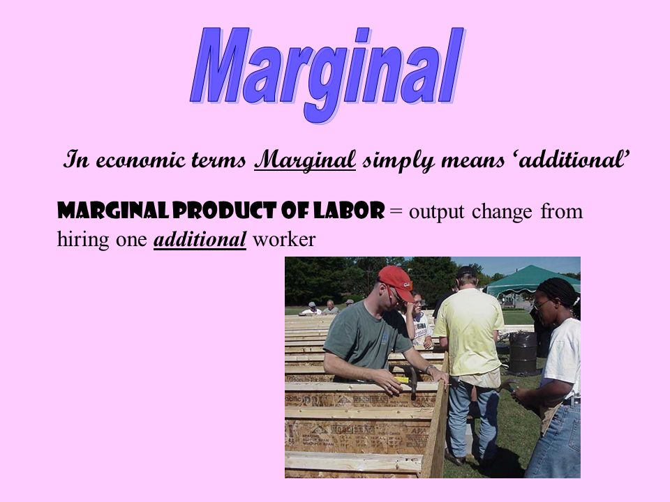 In economic terms Marginal simply means additional Marginal Product Of Labor = output change from hiring one additional worker