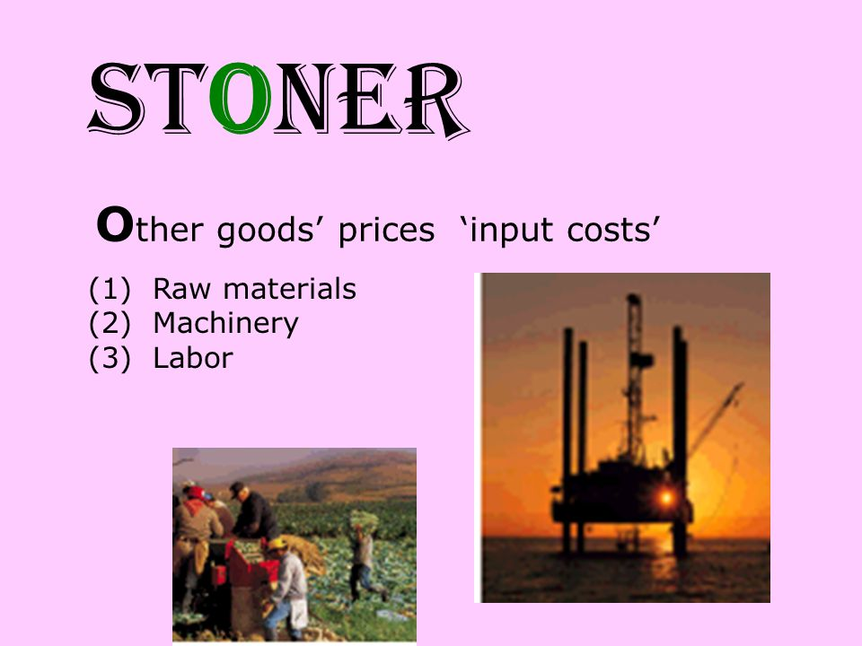STONER O ther goods prices input costs (1) Raw materials (2) Machinery (3) Labor