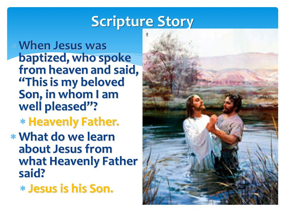 What is happening in this picture? What is happening in this picture? John the Baptist is baptizing Jesus. John the Baptist is baptizing Jesus. Lets r