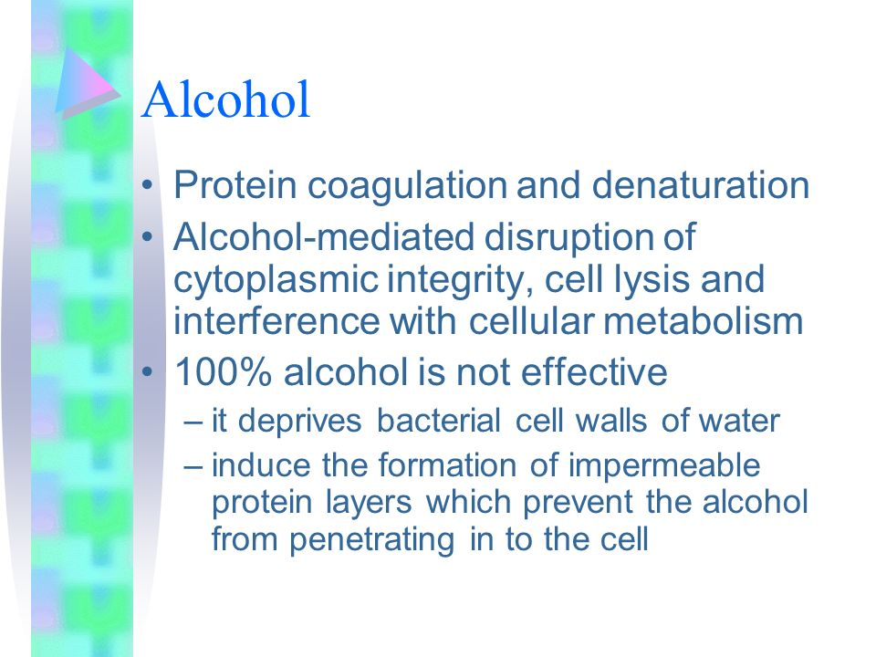 Alcohol Protein coagulation and denaturation Alcohol-mediated disruption of cytoplasmic integrity, cell lysis and interference with cellular metabolis