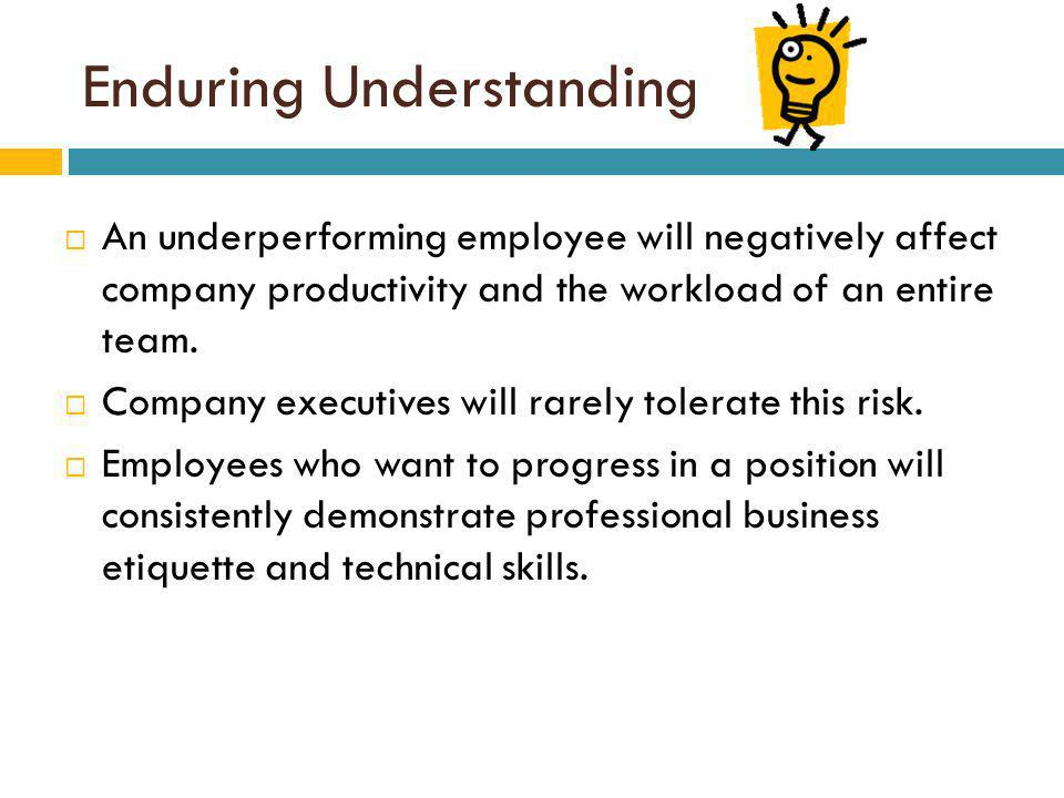 Enduring Understanding An underperforming employee will negatively affect company productivity and the workload of an entire team.