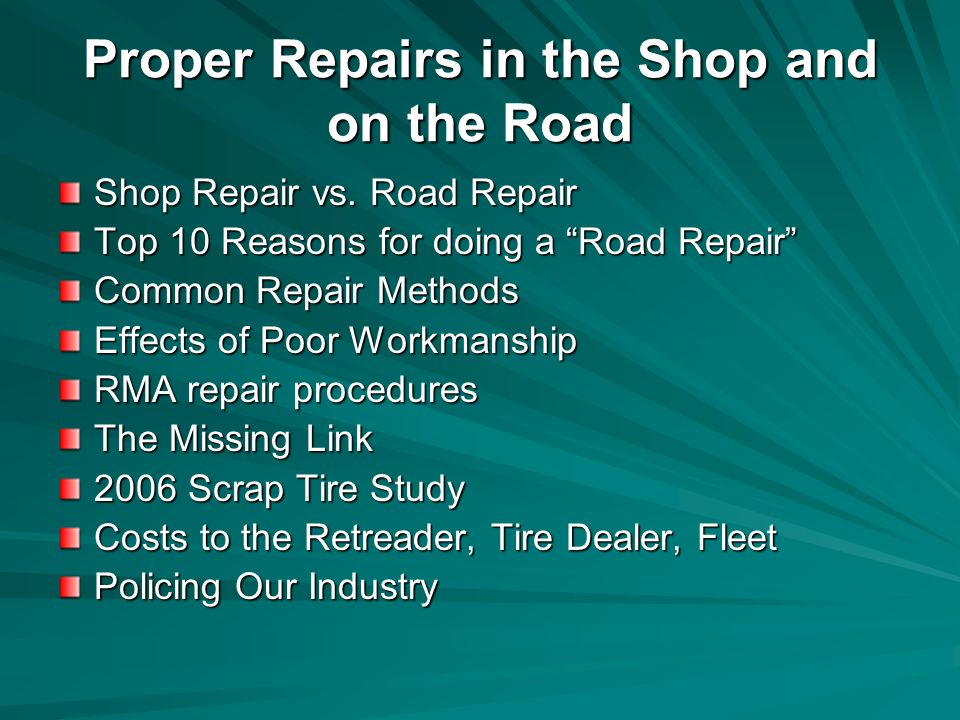Shop Repair vs.
