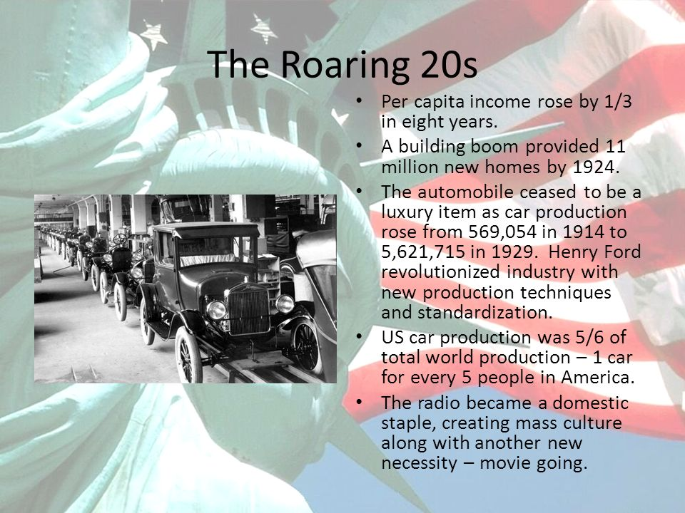 The Roaring 20s Per capita income rose by 1/3 in eight years. A building boom provided 11 million new homes by 1924. The automobile ceased to be a lux