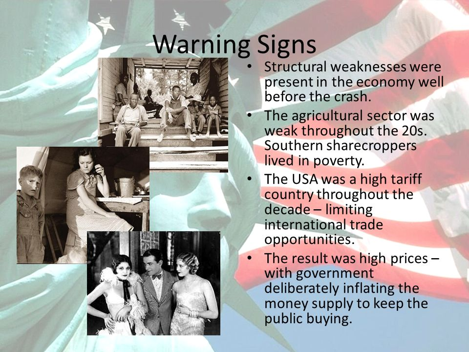 Warning Signs Structural weaknesses were present in the economy well before the crash.