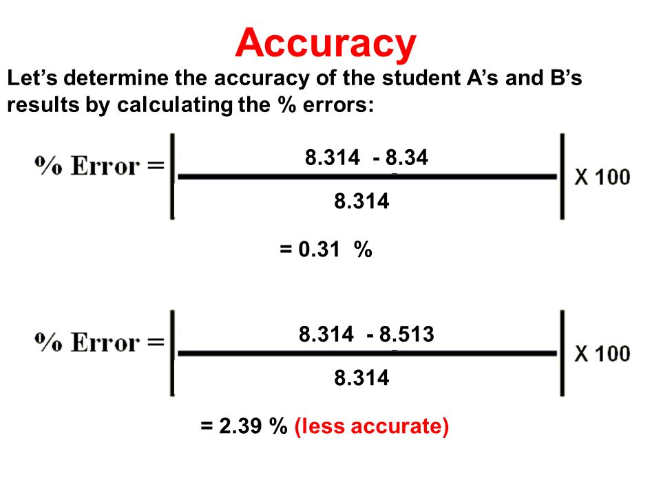 8.314 - 8.34 8.314 = 0.31 % 8.314 - 8.513 8.314 = 2.39 % (less accurate) Accuracy Lets determine the accuracy of the student As and Bs results by calc