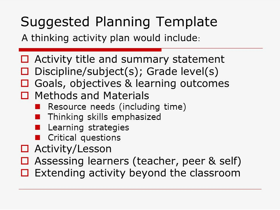 Suggested Planning Template Activity title and summary statement Discipline/subject(s); Grade level(s) Goals, objectives & learning outcomes Methods a