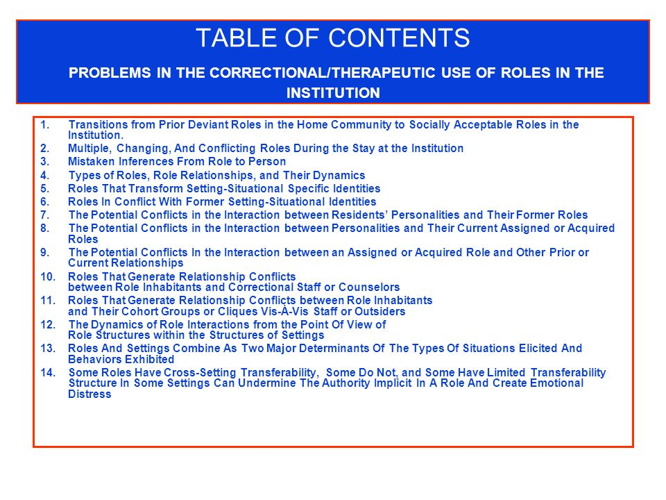 TABLE OF CONTENTS PROBLEMS IN THE CORRECTIONAL/THERAPEUTIC USE OF ROLES IN THE INSTITUTION 1.Transitions from Prior Deviant Roles in the Home Community to Socially Acceptable Roles in the Institution.
