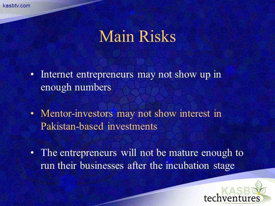 kasbtv.com Main Risks Internet entrepreneurs may not show up in enough numbers Mentor-investors may not show interest in Pakistan-based investments Th