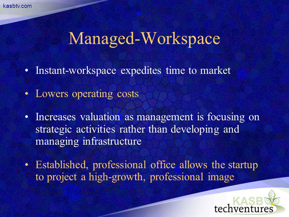 kasbtv.com Managed-Workspace Instant-workspace expedites time to market Lowers operating costs Increases valuation as management is focusing on strate