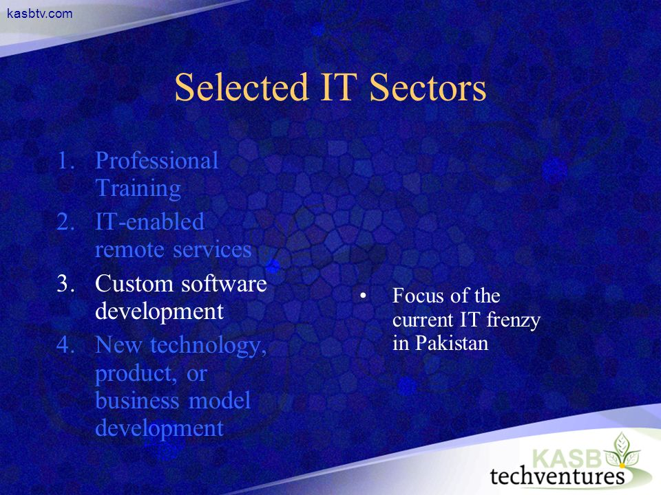 kasbtv.com Selected IT Sectors 1.Professional Training 2.IT-enabled remote services 3.Custom software development 4.New technology, product, or business model development Focus of the current IT frenzy in Pakistan