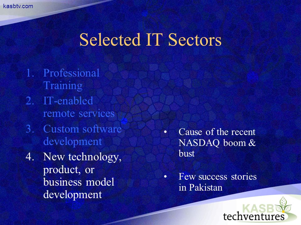 kasbtv.com Selected IT Sectors 1.Professional Training 2.IT-enabled remote services 3.Custom software development 4.New technology, product, or busine