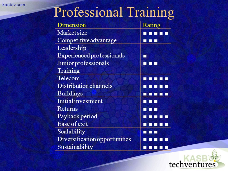kasbtv.com Professional Training DimensionRating Market size Competitive advantage Leadership Experienced professionals Junior professionals Training Telecom Distribution channels Buildings Initial investment Returns Payback period Ease of exit Scalability Diversification opportunities Sustainability