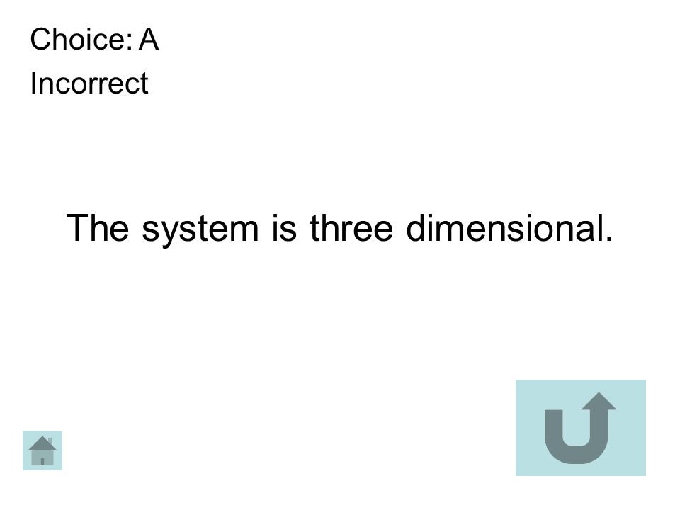 Choice: A Incorrect The system is three dimensional.