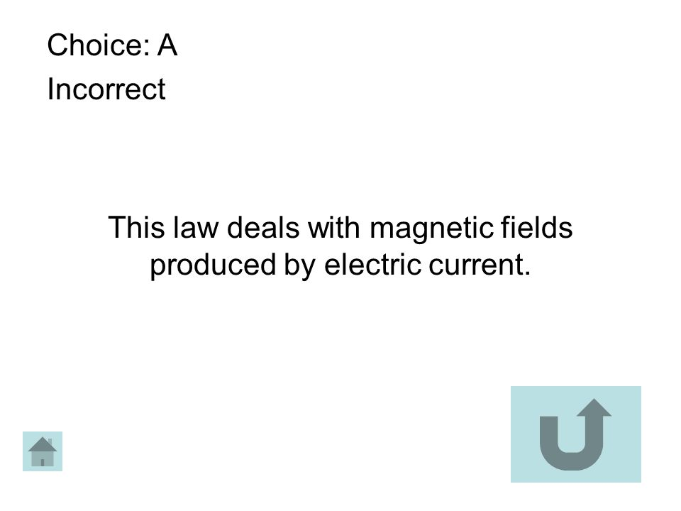 This law deals with magnetic fields produced by electric current. Choice: A Incorrect