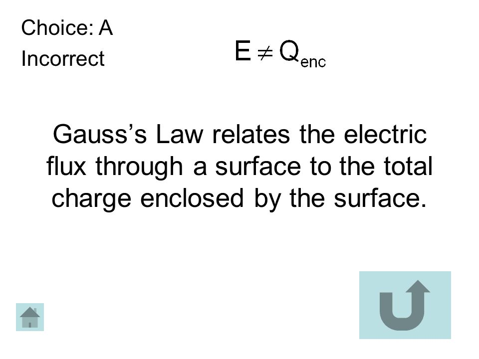 Gausss Law relates the electric flux through a surface to the total charge enclosed by the surface. Choice: A Incorrect