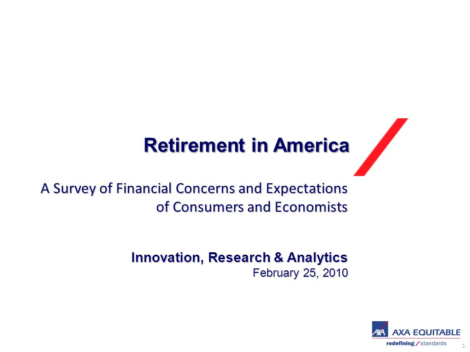 1 Retirement in America Innovation, Research & Analytics February 25, 2010 A Survey of Financial Concerns and Expectations of Consumers and Economists