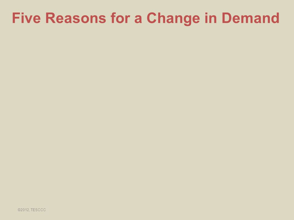 Five Reasons for a Change in Demand ©2012, TESCCC