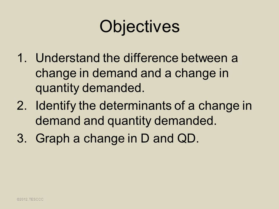 Objectives 1.Understand the difference between a change in demand and a change in quantity demanded. 2.Identify the determinants of a change in demand