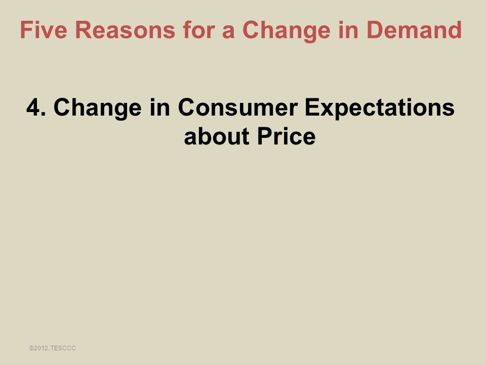 4. Change in Consumer Expectations about Price Five Reasons for a Change in Demand ©2012, TESCCC