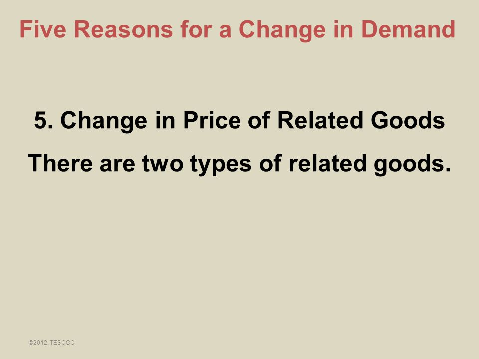 Five Reasons for a Change in Demand 5. Change in Price of Related Goods There are two types of related goods. ©2012, TESCCC