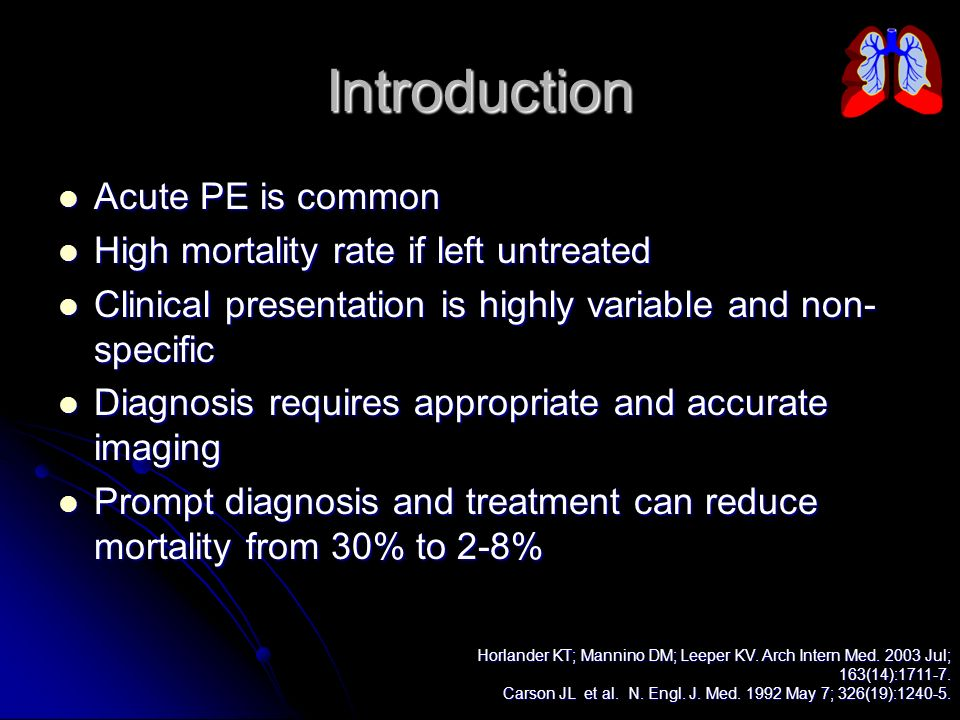Introduction Acute PE is common Acute PE is common High mortality rate if left untreated High mortality rate if left untreated Clinical presentation i