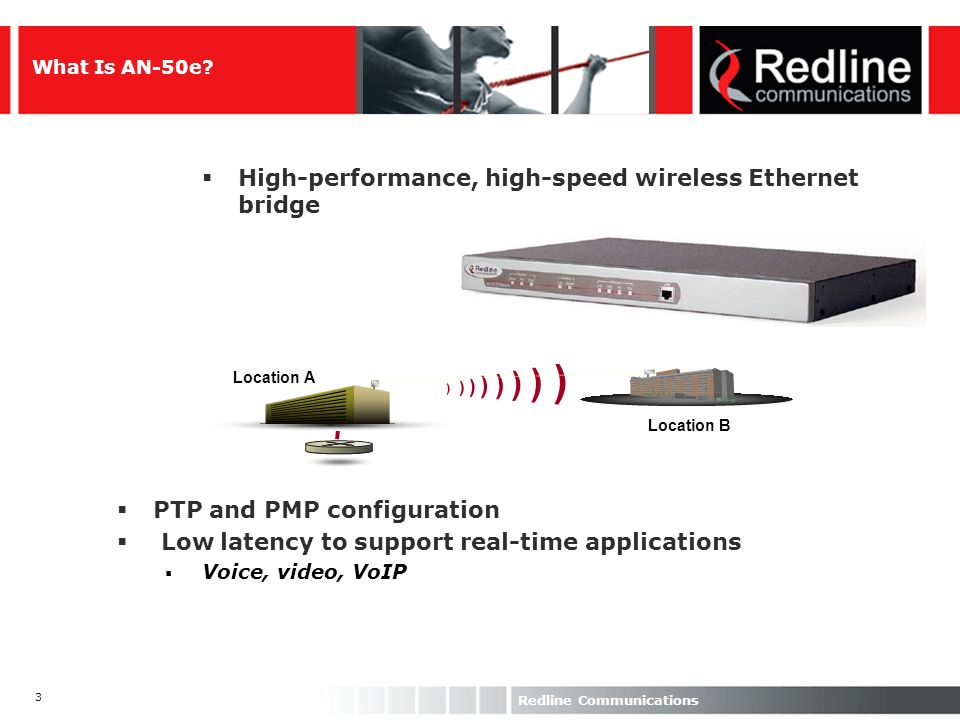 3 Redline Communications What Is AN-50e? High-performance, high-speed wireless Ethernet bridge ) ) ) ) Location B Location A PTP and PMP configuration