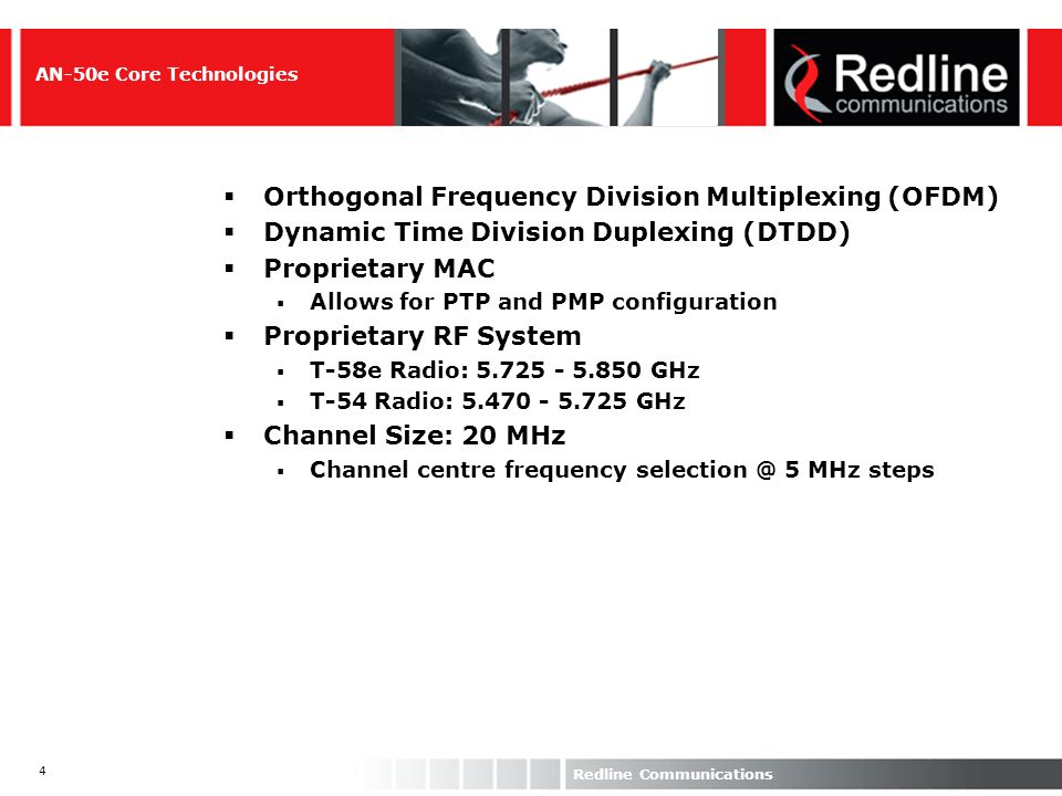 35 Redline Communications TDMoEth Solution: AN- 50/AN-30 AN-30 TDM Data TDM Data Encapsulates TDM into Ethernet directly Currently a PTP only QTM: 4 E1/T1 ports OTM: 8 T1/E1 ports Full/Fractional E1/T1