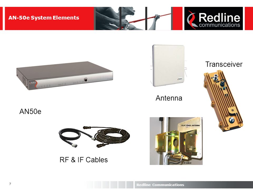 58 Redline Communications AN-100 Differentiators Data integrity: CRC and FEC BER10 -9 ; PER < 10 -6, Availability of 99.999% Latency: TDD Frame duration ± 5 ms Speed: 6 speed levels through Dynamic Adaptive Modulation QoS per SF CIR, PIR, max latency, traffic priority CIR/PIR levels increments of 128 Kbps DC/AC power operation Power consumption <40 W (SS) and 70 W (SC)