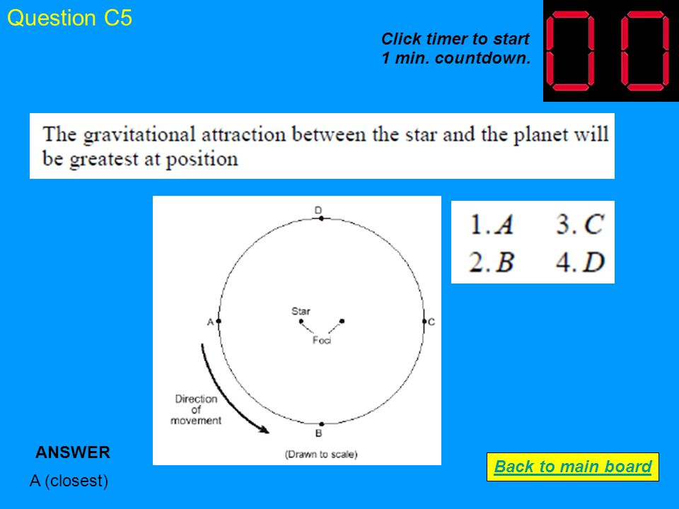 Question C4 Main sequence ANSWER Back to main board Click timer to start 1 min. countdown.