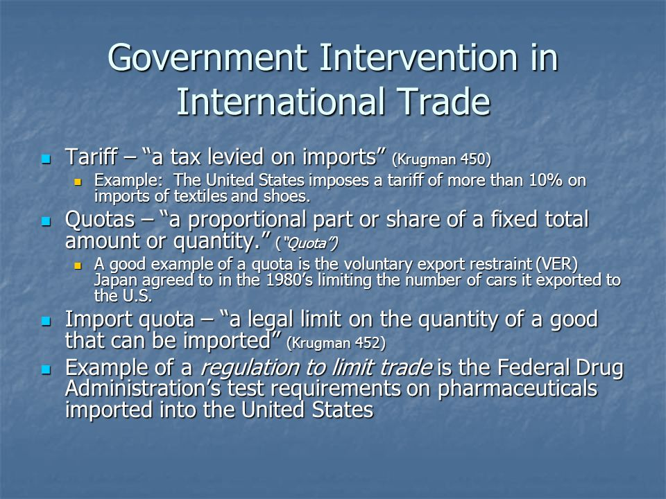 Government Intervention in International Trade Tariff – a tax levied on imports (Krugman 450) Tariff – a tax levied on imports (Krugman 450) Example: