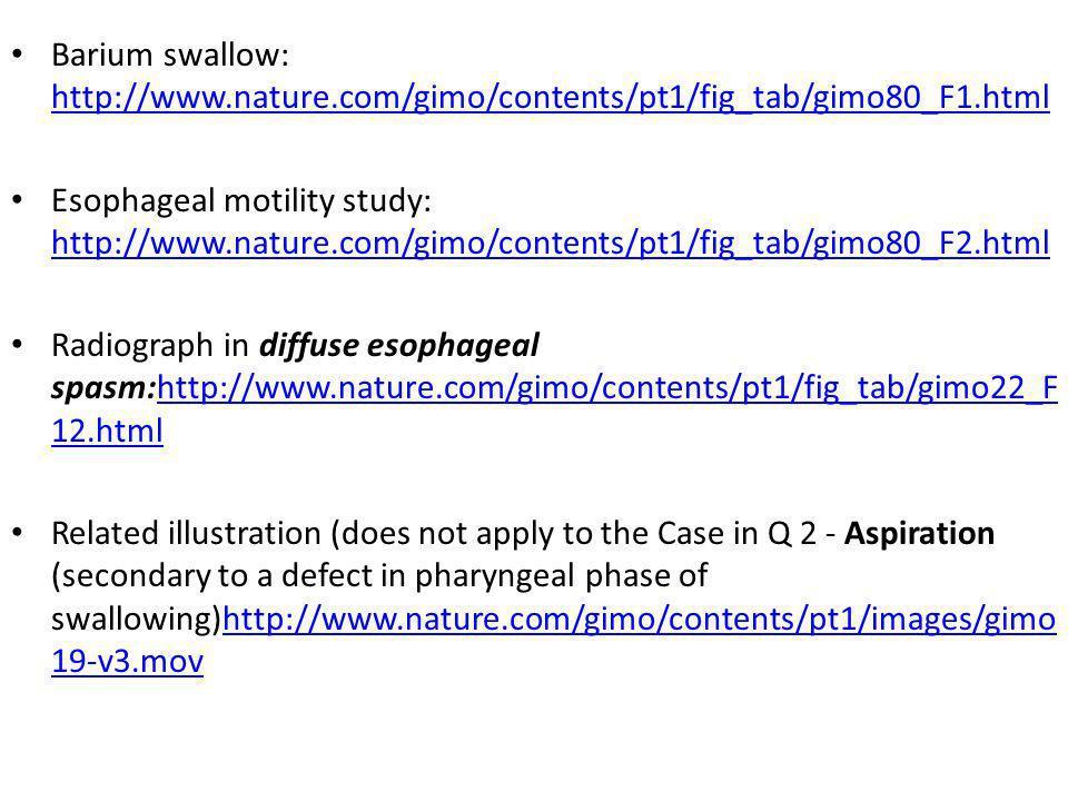 Barium swallow: http://www.nature.com/gimo/contents/pt1/fig_tab/gimo80_F1.html http://www.nature.com/gimo/contents/pt1/fig_tab/gimo80_F1.html Esophage