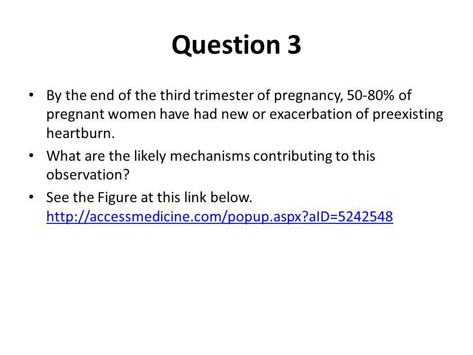 Question 3 By the end of the third trimester of pregnancy, 50-80% of pregnant women have had new or exacerbation of preexisting heartburn. What are th