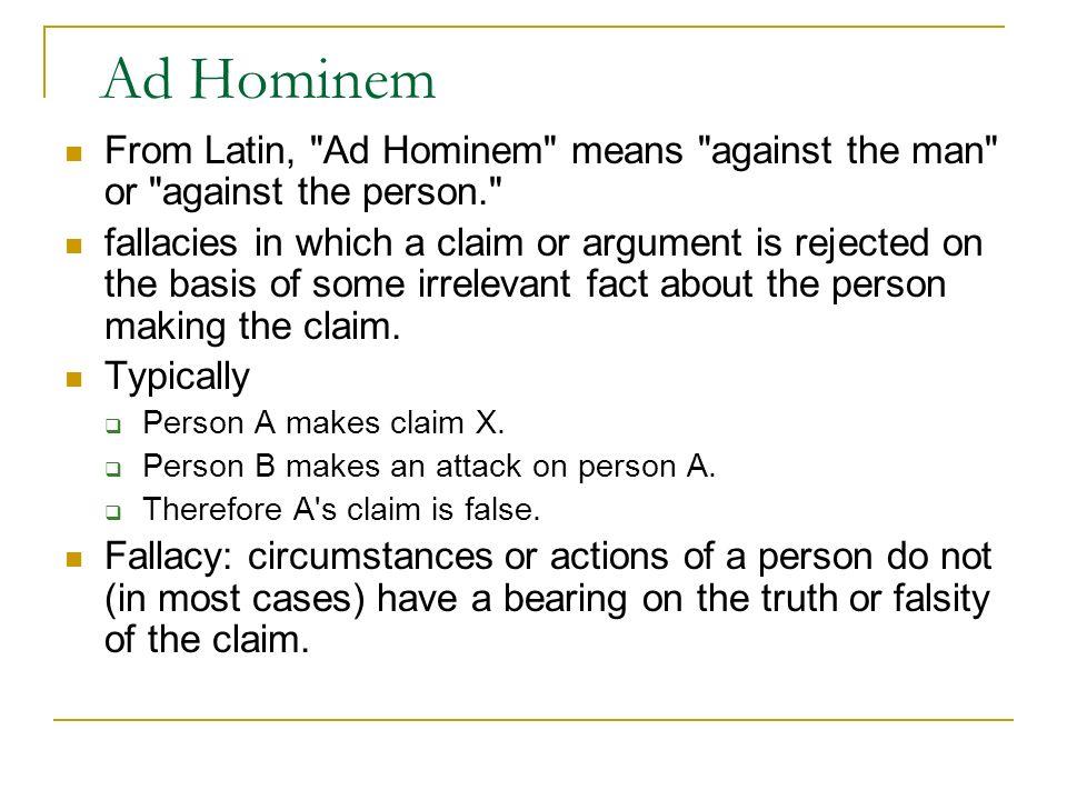 Ad Hominem From Latin,
