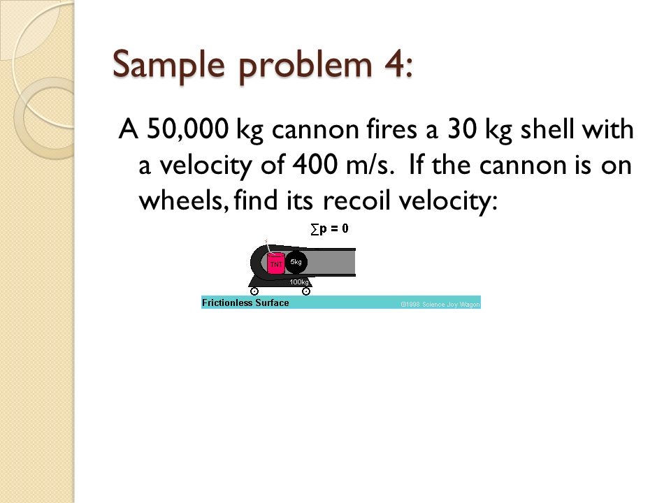 Sample problem 4: A 50,000 kg cannon fires a 30 kg shell with a velocity of 400 m/s.