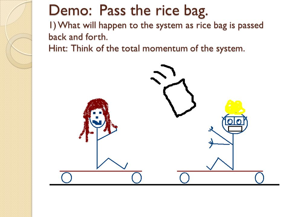 Demo: Pass the rice bag. 1) What will happen to the system as rice bag is passed back and forth.