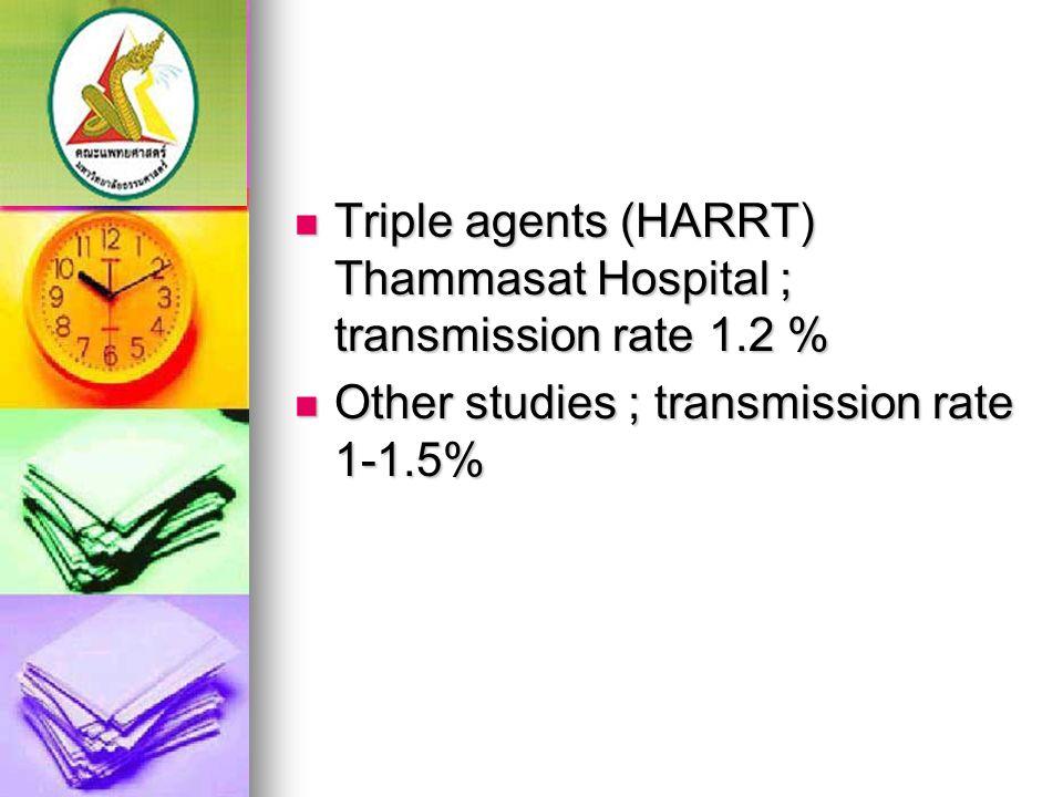 Triple agents (HARRT) Thammasat Hospital ; transmission rate 1.2 % Triple agents (HARRT) Thammasat Hospital ; transmission rate 1.2 % Other studies ;