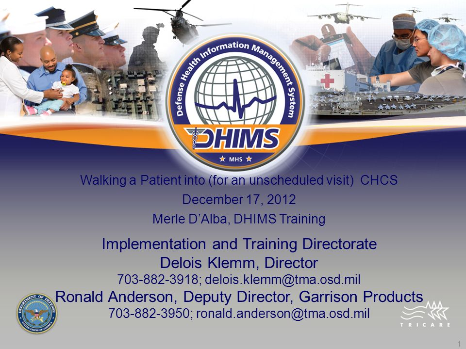 1 Walking a Patient into (for an unscheduled visit) CHCS December 17, 2012 Merle DAlba, DHIMS Training Implementation and Training Directorate Delois