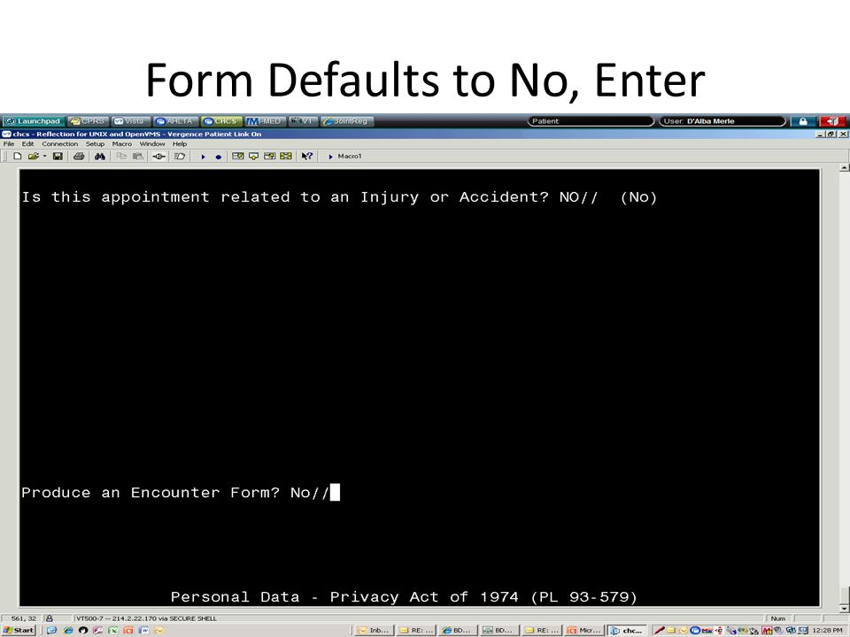 Form Defaults to No, Enter