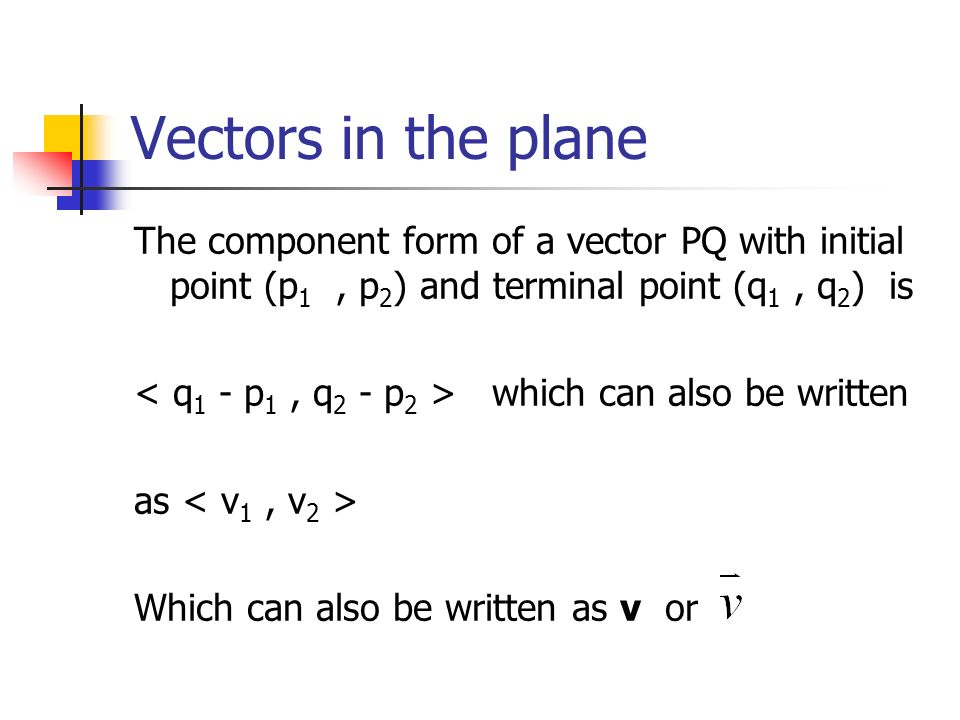 Vectors in the plane The component form of a vector PQ with initial point (p 1, p 2 ) and terminal point (q 1, q 2 ) is which can also be written as W