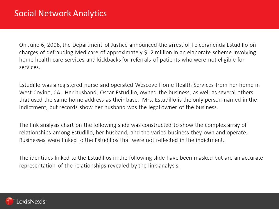 RED/082311 On June 6, 2008, the Department of Justice announced the arrest of Felcoranenda Estudillo on charges of defrauding Medicare of approximatel
