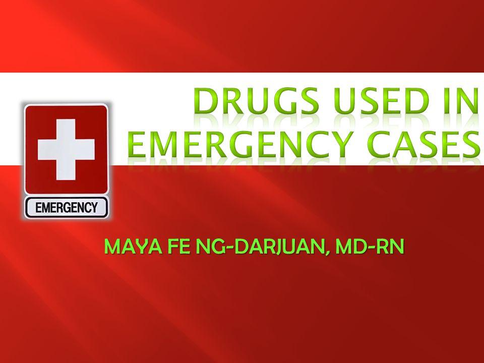OXYGEN DRUGS FOR CARDIAC DISORDERS DRUGS FOR POISONING DRUGS FOR SHOCK DRUGS FOR HYPERTENSIVE CRISIS AND PULMONARY EDEMA