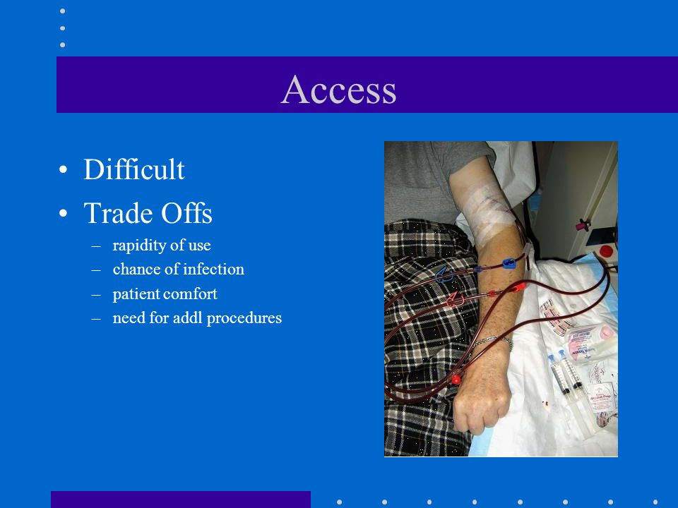 Access Difficult Trade Offs –rapidity of use –chance of infection –patient comfort –need for addl procedures