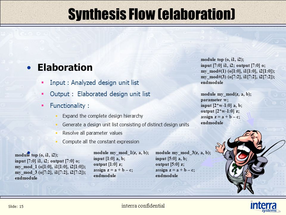 Slide: 14 interra confidential Synthesis Flow (analysis) Analysis Input : Design description in HDL (Verilog/VHDL file) Output : Analyzed design units