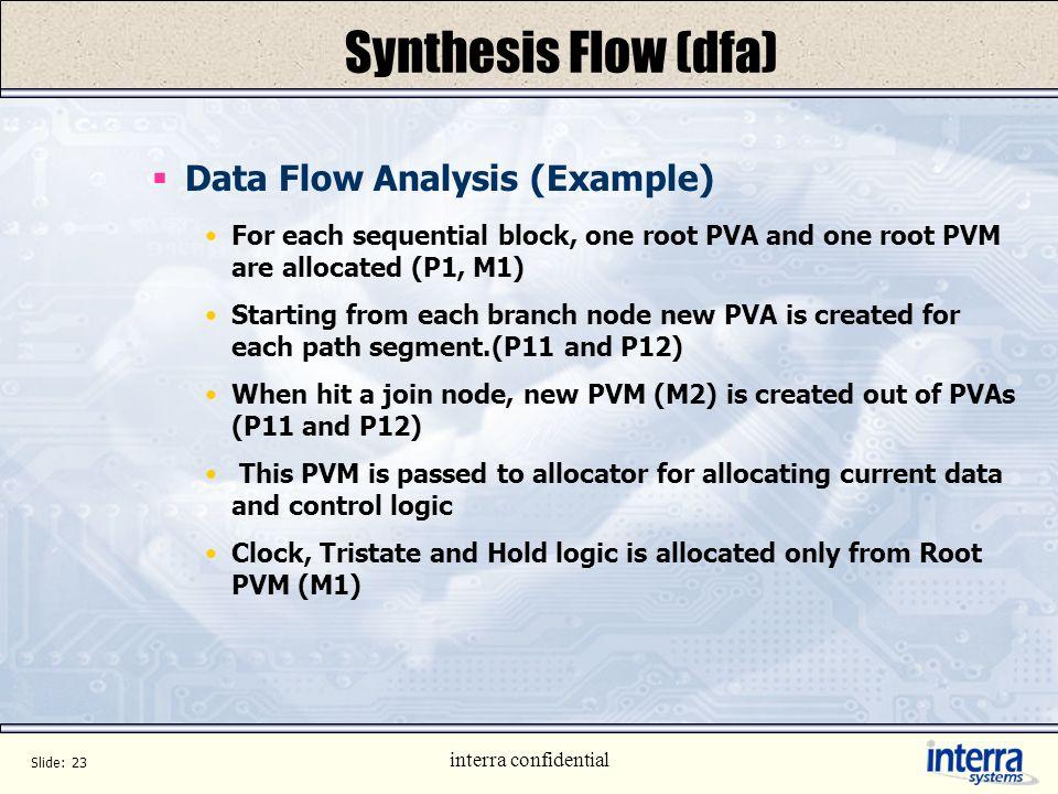 Slide: 22 interra confidential Synthesis Flow (dfa) Data Flow Analysis (Example) START END IF ENDIF IF ENDIF = = NOP + t c z t a b t m n PVA : P1 PVM: