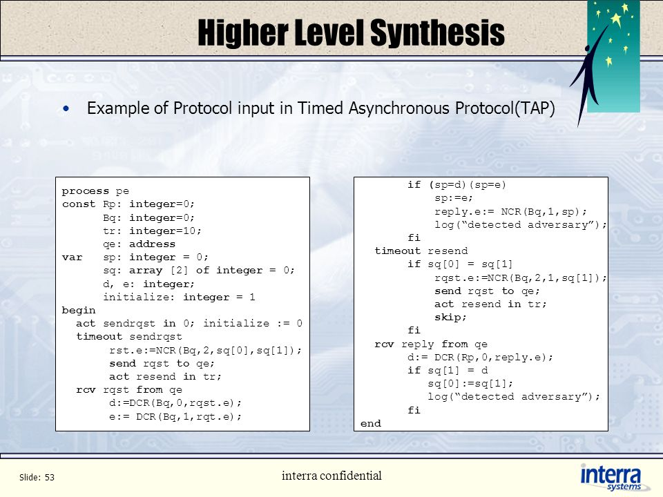 Slide: 52 interra confidential Higher Level Synthesis Protocol Synthesis Input in Language specific for describing Communication Protocols between des