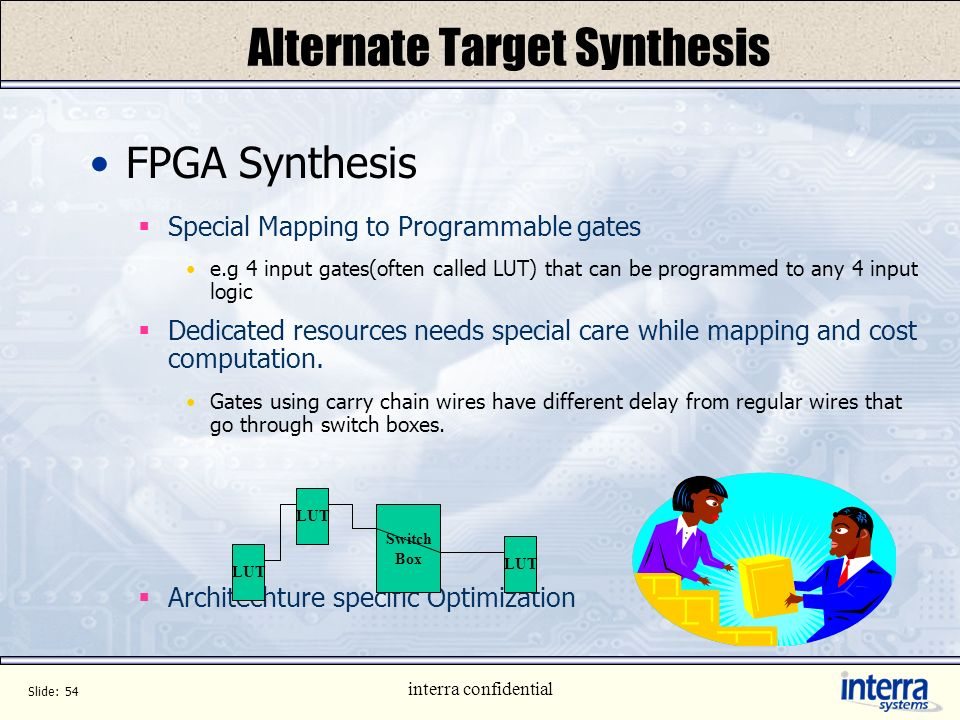 Slide: 53 interra confidential Higher Level Synthesis Example of Protocol input in Timed Asynchronous Protocol(TAP) process pe const Rp: integer=0; Bq