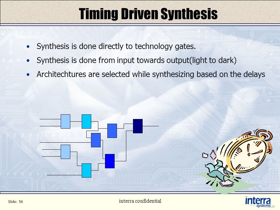 Slide: 55 interra confidential Alternate Target Synthesis Physical Synthesis Generates directly Placed Gates Design Convergence is guarantied Constrai